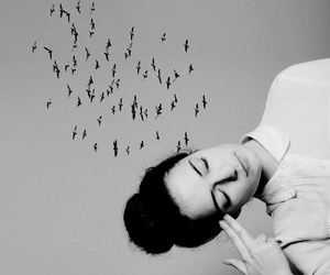 girl, birds, and black and white image