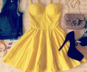 dress, fashion, and yellow image