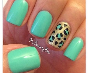 nails, leopard, and mint image