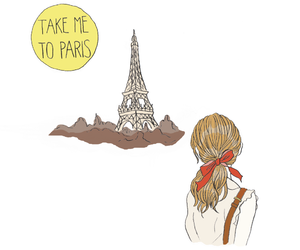 illustration, eiffel tower, and girl image