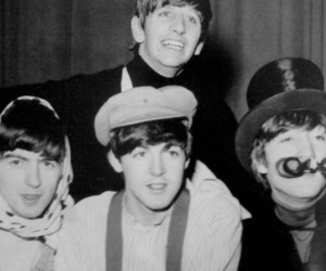 beatles and black and white image