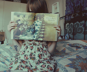 girl, book, and alice image