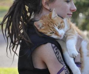 cat, girl, and dreads image