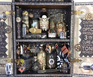 bottle, cabinet, and creepy image