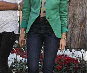 boyfriend blazer, bright colors, and jeans image