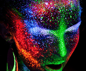neon, colors, and face image