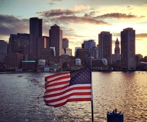 american flag and sunset image