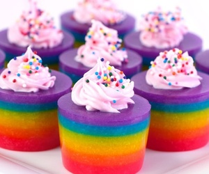 rainbow, food, and cupcake image