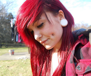 piercing, girl, and hair image