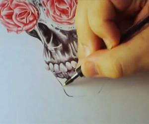 art, skull, and black image