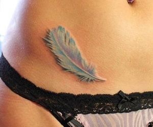 feather tattoo, ink, and girly image
