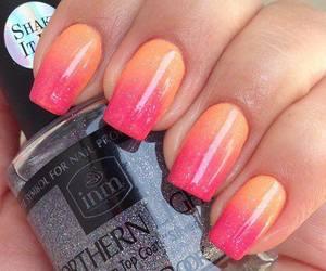 nails, orange, and pink image