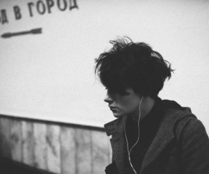 boy, black and white, and music image