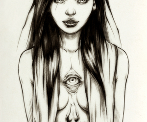 black and white, girl, and sketch image