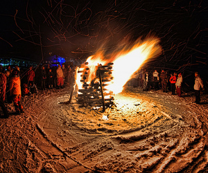 fire, winter, and friends image