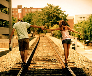 boy, girl, and holding hands image