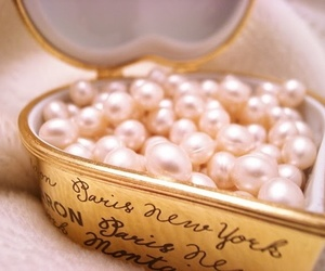 pearls, heart, and pink image