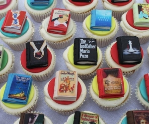 book, cupcake, and food image