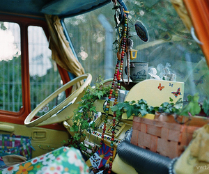 hippie, car, and plants image