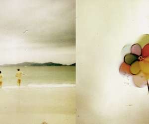 beach, polaroid, and swimming image