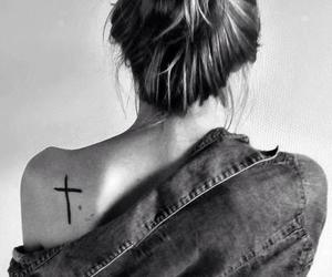 girl, tattoo, and cross image