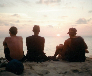 sea, friends, and boy image
