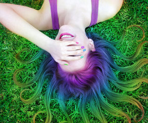 hair, rainbow, and blue image
