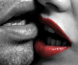 black and white, woman, and kiss image