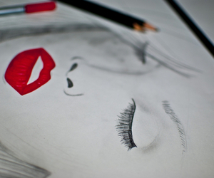 drawing, red, and lips image