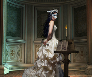 book, mask, and dress image