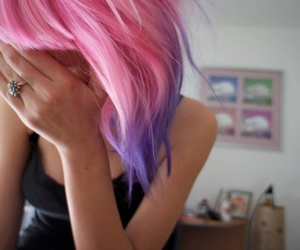 awesome hair, blue, and purple image