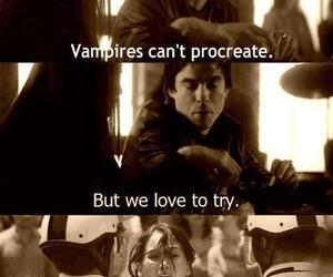 damon, elena, and funny image