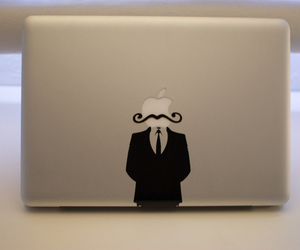 apple, mustache, and mac image