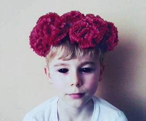 boy, flowers, and eyes image