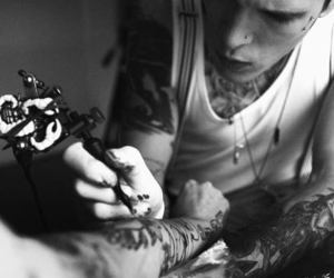 tattoo, boy, and black and white image