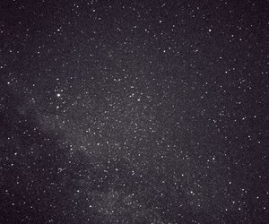 stars, galaxy, and black and white image