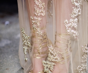 dress, gold, and shoes image