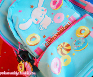 backpack, cinnamoroll, and donuts image