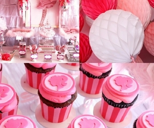 barbie, pink, and cupcakes image
