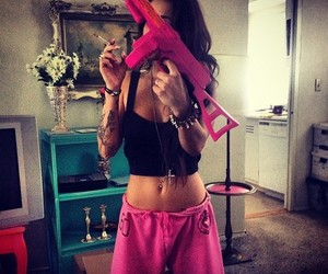 black and pink, swag, and belly piercing image