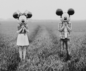 mickey, minnie, and black and white image