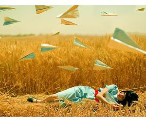 girl, airplane, and field image
