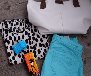 bag, blouse, and blue image