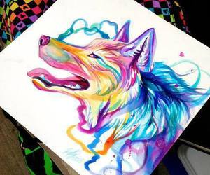 wolf, art, and color image