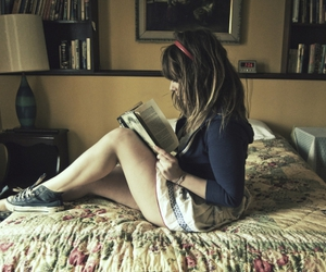 bed, book, and converse image