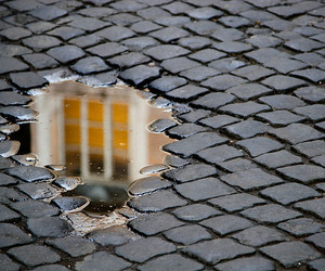 reflection, street, and water image