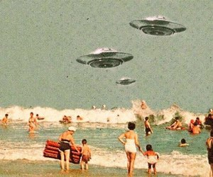 beach, ovnis, and people image