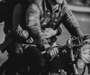 b&w, black and white, and motorcycle image