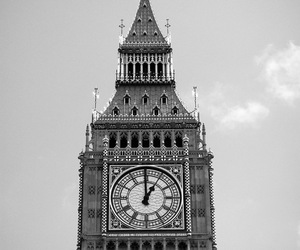 Big Ben, london, and black and white image