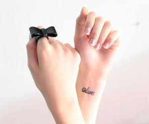 alive, tattoo, and bow image